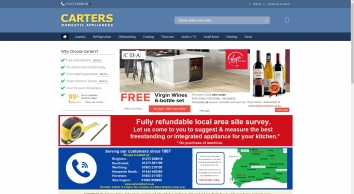 Top Quality Domestic Appliances at Carters Domestic Appliances. Six stores in Sussex