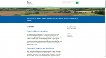Introducing a Deposit Return Scheme (DRS) in England, Wales and Northern Ireland              - Defra             - Citizen Space