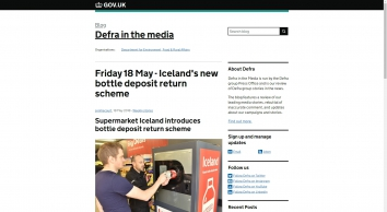 Friday 18 May - Iceland\'s new bottle deposit return scheme - Defra in the media