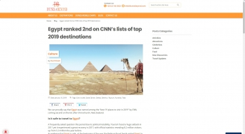 Egypt ranked 2nd on CNN's lists of top 2019 destinations | Dunes & Beyond