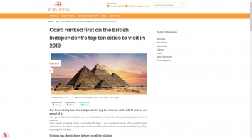Cairo ranked first on the British Independent's top ten cities to visit in 2019   Dunes & Beyond