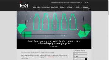 Cost of government\'s proposed bottle deposit return scheme largely outweighs gains — Institute of Economic Affairs
