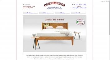 MANUFACTURERS OF HANDMADE WOODEN BEDS , NATURAL FILLED MATTRESSES,  BY  LITVINOFF & FAWCETT, LONDON,  SHOREDITCH, HACKNEY.